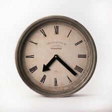 Large 31cm Platinum Grey Industrial Minimal Metal Hanging Wall Clock Home Decor