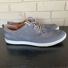 Men's Ecco Boat Shoes Gray Suede Leather Handsewn Comfort Loafer Size 47 US 14