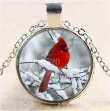 Red bird in the Snow Cabochon Glass Tibet Silver Chain Pendant Necklace