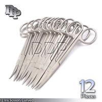 "12 Iris Scissors 4.5"" Curved Surgical Dental Instruments"