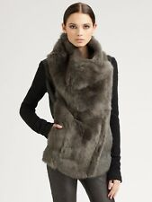 Helmut Lang Flux Fur & Leather Sweater Sleeve Coat Jacket Gray & Black L $1895