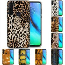 TPU Phone Case Cover for Motorola G Stylus,G7 Play,Power,Plus,Animal Skin Print
