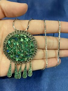 """925 Sterling Silver Ladies Vintage Green Stone Pin Brooch Pendant Chain 20"""" 20g"""