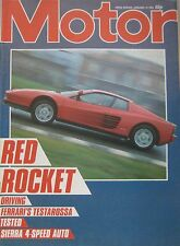 Motor magazine 12/1/1985 featuring Ford Sierra road test, Ferrari