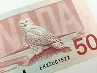 1988 Canada 50 Dollar Circulated EHX Replacement Banknote Thiessen Crow R161