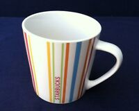 2005 Starbucks Coffee Co. Striped Mug White Multi-Colors Holds 14 Fl. Oz. Good