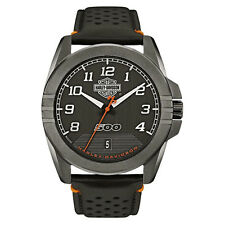 Harley-Davidson® Men's Bulova Bar & Shield Stainless Steel Leather Watch 78B143