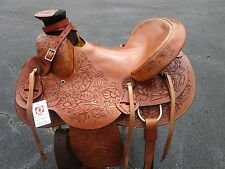 USED 15 16 WADE ROPER RANCH ROPING WESTERN COWBOY TOOLED LEATHER HORSE SADDLE