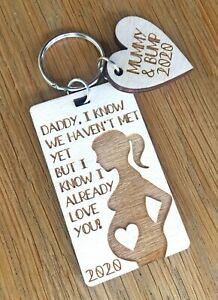 Personalised Gifts For Daddy Dad To Be From Bump Baby Pregnancy Keyring Gifts