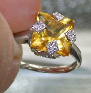 9ct White Gold Citrine Diamond Art Deco Style  Cluster Ring 9 Carat Gold  P 1/2