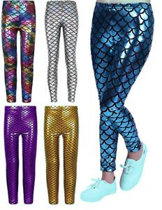 Crazy Chick® Girls Metallic Fish Scale Leggings Mermaid Kids Shiny Foil Legging