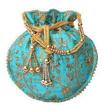 Designer Silk Embroidered Potli Bag Pearl Handle Purse Stylish Women's Handbag S