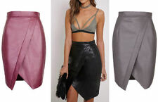 Knee Length Faux Leather Patternless Skirts for Women