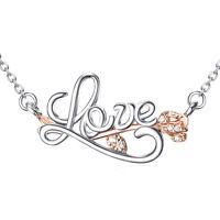 LOVE Script Cursive Word Letters Pendant Necklace 925 Sterling Silver CZ Flower
