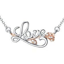 LOVE NECKLACE 925 Sterling Silver Rose Gold Flower Crystal Charm Pendant Gift