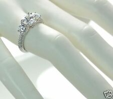 Solid 925 Sterling Silver 3- Stone Lab Simulated Diamond Engagement Ring Sz-7 '
