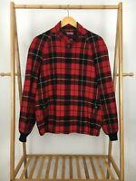 RARE VTG Pendleton Women's Red Black Tartan Plaid Wool Bomber Jacket Size XL USA