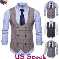 Men's Formal Business Vest Suit Coats Slim Double-Breasted Plaid Waistcoat Tops
