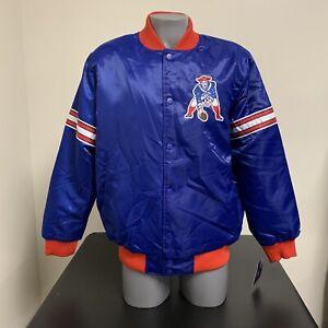 New England Patriots Satin Starter Jacket Throwback NFL Football NWT New Large