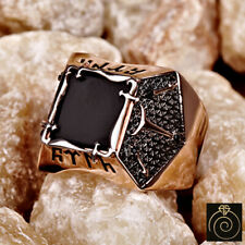 Unique Turkish Heraldic Mens Ring Onyx Gemstone Vintage Kayi Band For Warrior