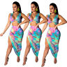 Sexy Women Tie-Dyed Printed V Neck Sleeveless Crop Top Bodycon Summer Dress 2pc