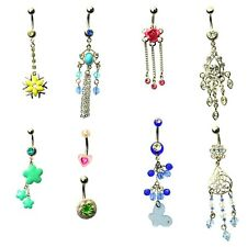 8 x dangle dangling bead belly bars silver stainless steel crystal gem navel 14g