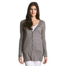 ESCALES Paris linen cardigan sweater jumper pull maglia lino grigio donna M BNWT