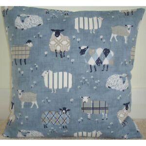 "Cushion Cover 16"" Sheep Blue Grey Denim Farm Tartan"