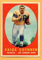 1958 Topps  #92 Paige Cothren (VG) -- Los Angeles Rams