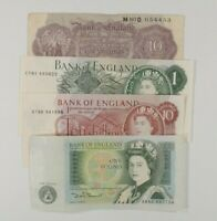 Great Britain 4-Notes Currency Set (2) 10 Shillings & (2) 1 Pound