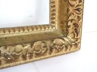 VINTAGE WHITEWASH / CARVED  GILT FRAME FOR PAINTING  20 X 16 INCH  ( f -15)