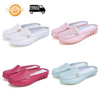 Women's Ladies Comfy Flat Leather Mules Slippers Loafers Slip On Casual Shoes