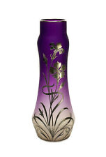 American Silver Overlay Amethyst Purple to Clear Art Nouveau Glass Vase, c1910