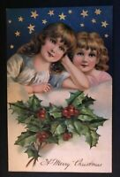 Pretty Christmas Victorian Girls with~Stars~Holly~ Antique PFB~ Postcard-b433