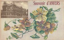 Souvenir d' Anvers,Belgium,Royal Theater,Antwerp,Yellow Flowers,c.1909