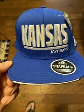 Kansas Jayhawks KU Adidas Blue Climalite Block Snapback Adjustable Hat Cap