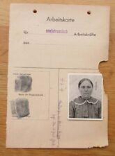 Ausweis / Arbeitskarte mit Foto für einen Ostarbeiterin aus Russland 2. WK