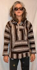 UNISEX BAJA BILLY'S CLASSIC MEXICAN WOVEN HOODIE PULLOVER PONCHO SIZE M