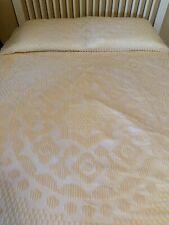 "Vintage Chenille Bedspread Yellow Bone White Full Size 114"" x 94"""