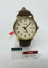 Timex TW2P75800, Men's Easy Reader Brown Leather Watch Indiglo Date 38MM Case W3