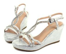"MARIVE-5 Blink Wedges Prom 3.2"" inch High Heel 1"" Platform Women Shoes Silver"