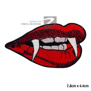Devil Lips Vampire Lips Iron On Sew On Embroidered Patch Badge For Clothes etc