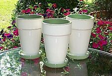 """Set Of 3 7"""" Tall Ceramic Planters With Saucers Flower Pots Green Inside"""