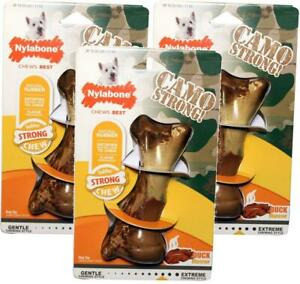 (3 Pack) Nylabone Strong Chew Duck Flavored Camo Bone, Dogs Up To 25 lbs.