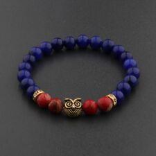 Fashion Women Men Red Lava Lapis Stone Beaded Owl Head Gem Gasket Bracelets