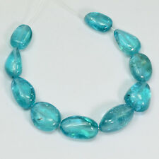 Neon Blue Apatite Tumbled Freeform Nugget  Beads (10)