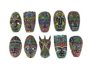 Zeckos Set of 10 Hand Carved Island Tribal Masks Dot Painted 6 1/2 Inch