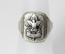 "Very Old Sterling Silver ""Be Prepared"" Boy Scout of America Ring Size 6 - 3352"