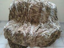 Luxury Brown Rex Rabbit Fur Throw 100% Real Rex Fur Bedspread / Blanket King