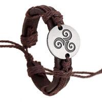 Triskele Leather Bracelet Wristband Triskelion Triple Spiral Celtic